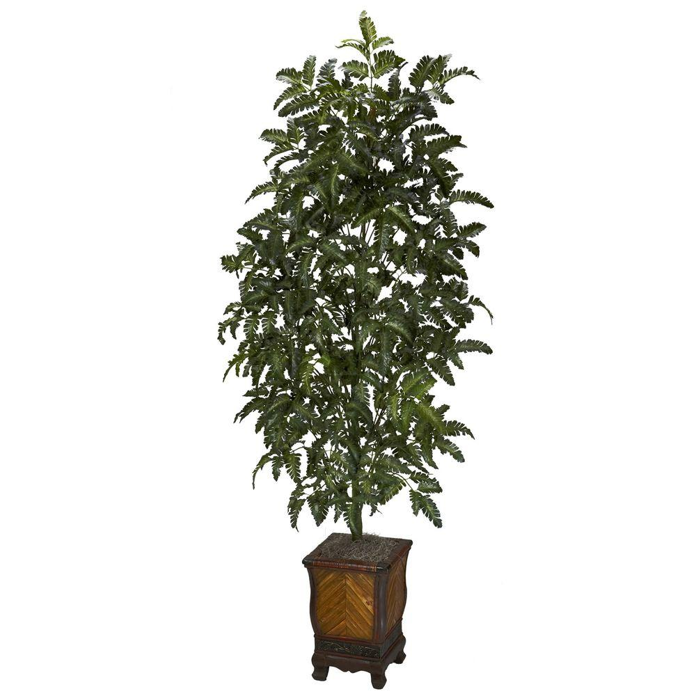 60 in. H Green Bracken Fern with Decorative Vase Silk Plant