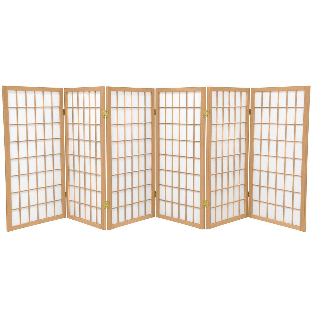 Oriental Furniture 3 ft. Natural 6-Panel Room Divider WP36-NAT-6P