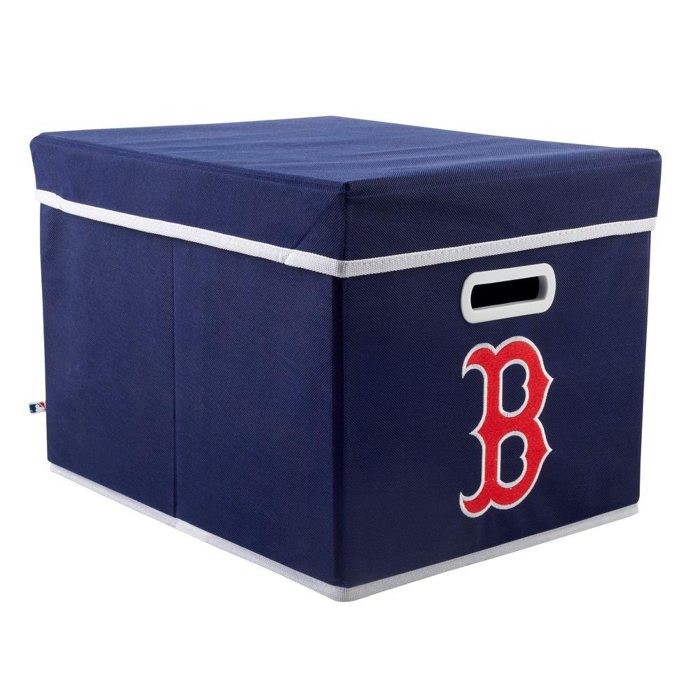 MyOwnersBox MLB STACKITS Boston Red Sox 12 in. x 10 in. x 15 in. Stackable Blue Fabric Storage Cube