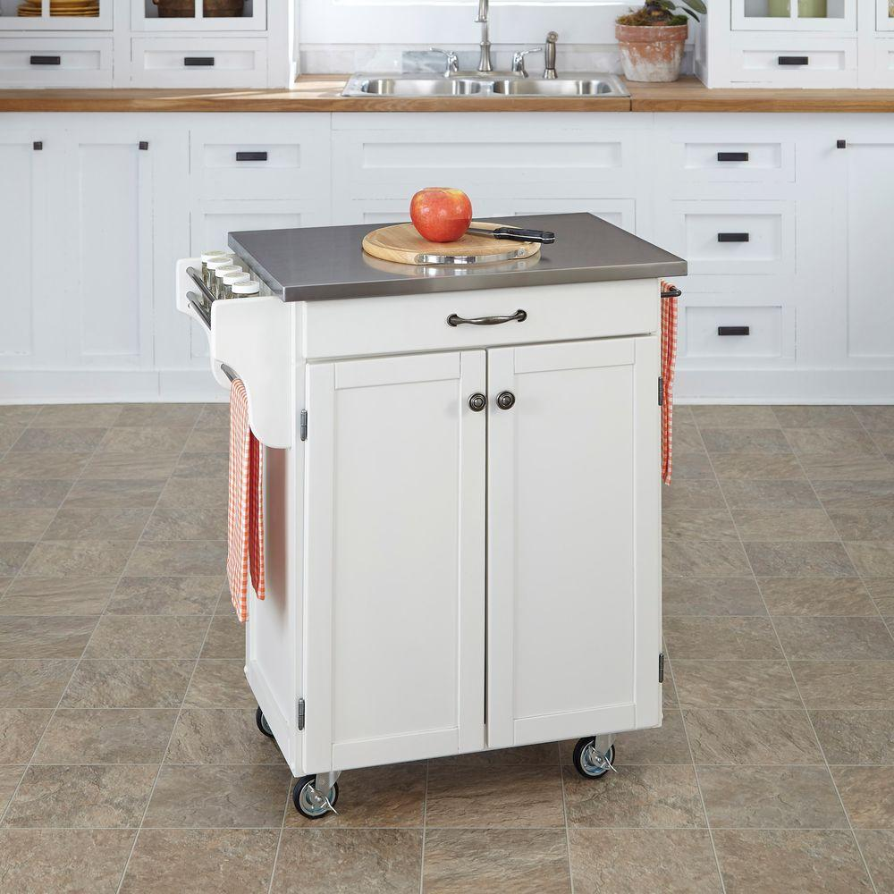 Home Styles Create-a-Cart White Kitchen Cart With Stainle...