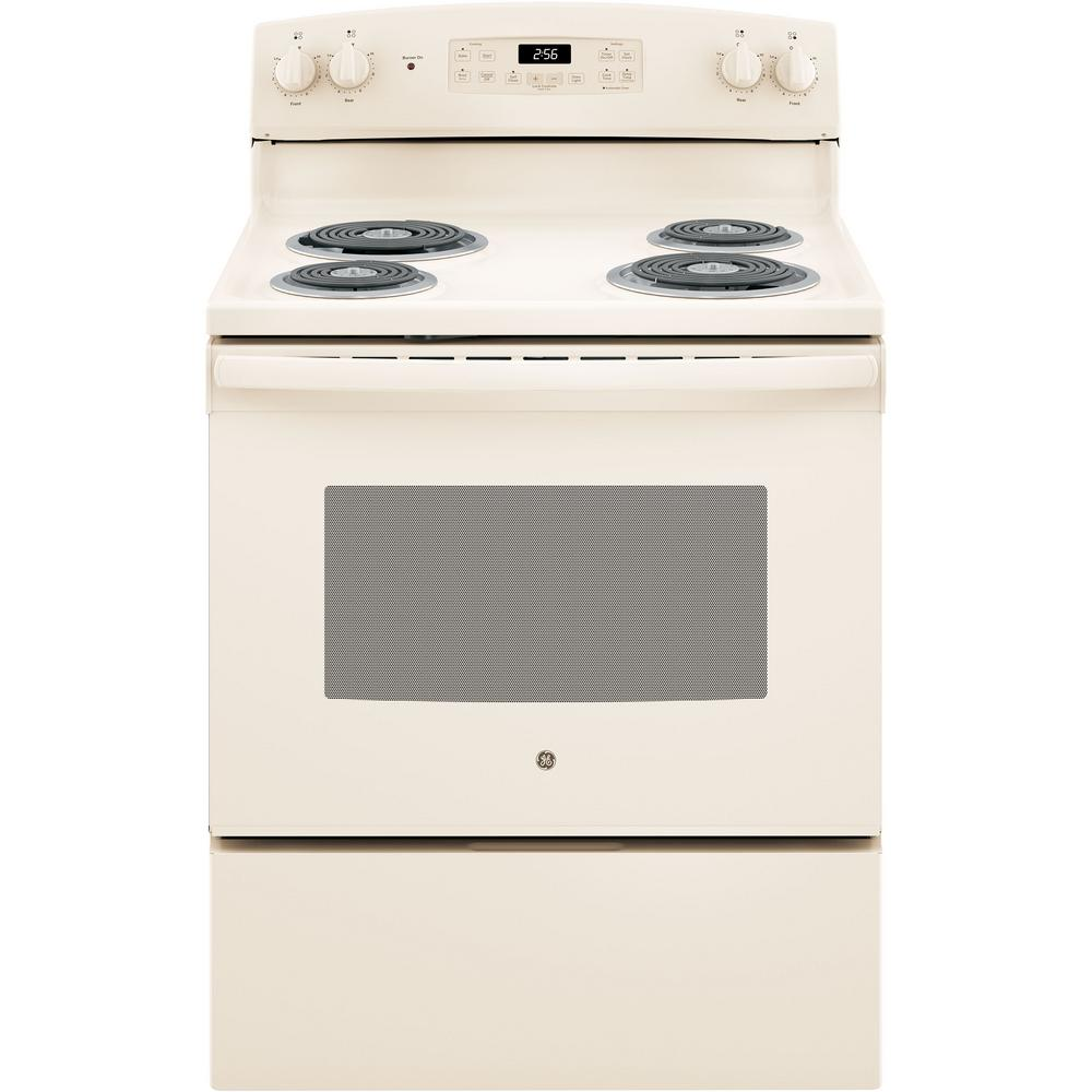 GE 30 in  5 0 cu  ft  Electric Range with Self-Cleaning Oven in Bisque