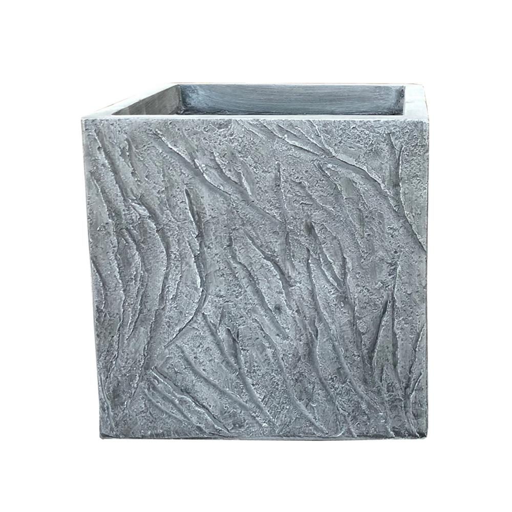 Large 13.78 in. Light Gray Lightweight Concrete Slate Cube Planter