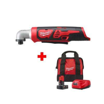M12 12-Volt Lithium-Ion Cordless 1/4 in. Right Angle Hex Impact Driver with One 4.0 Ah Battery, Charger and Bag
