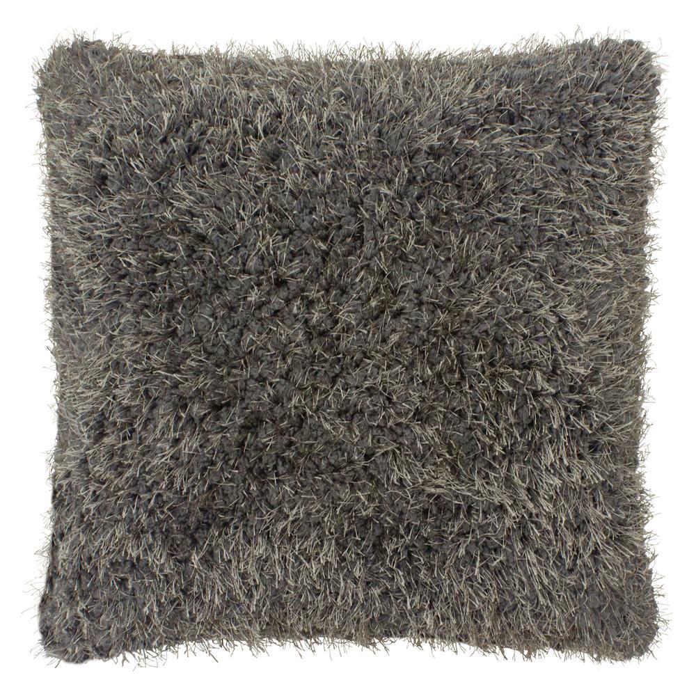 Plush Shag 18 in. x 18 in. Dark Grey Decorative Pillow