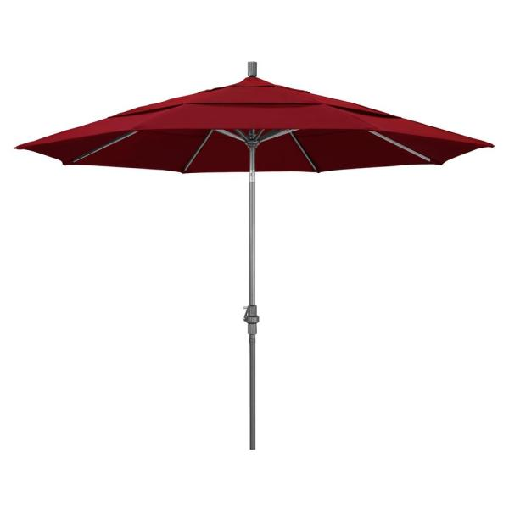11 ft. Hammertone Grey Aluminum Market Patio Umbrella with Crank Lift in Red Olefin