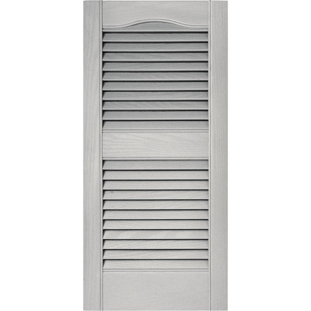 Builders Edge 15 in. x 31 in. Louvered Vinyl Exterior Shutters Pair ...