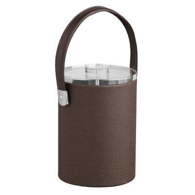 Cosmopolitan 2 Qt. Mocha Tall Ice Bucket with Strap Handle and Thick Lucite Lid