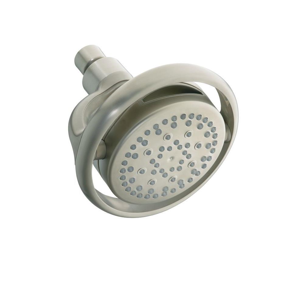 Flipside 4-Spray 5.4 in. Single Wall Mount Fixed Shower Head in Vibrant Brushed Nickel