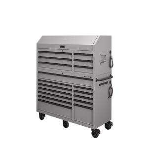 Heavy-Duty 56 in. W 18-Drawer Combination Tool Chest and Cabinet Set, Matte Gray