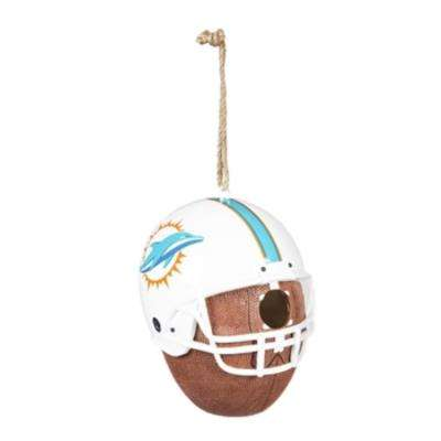 Miami Dolphins 6.5 in. x 7.5 in. x 8 in. Polystone Hat/Helmet Ball Birdhouse