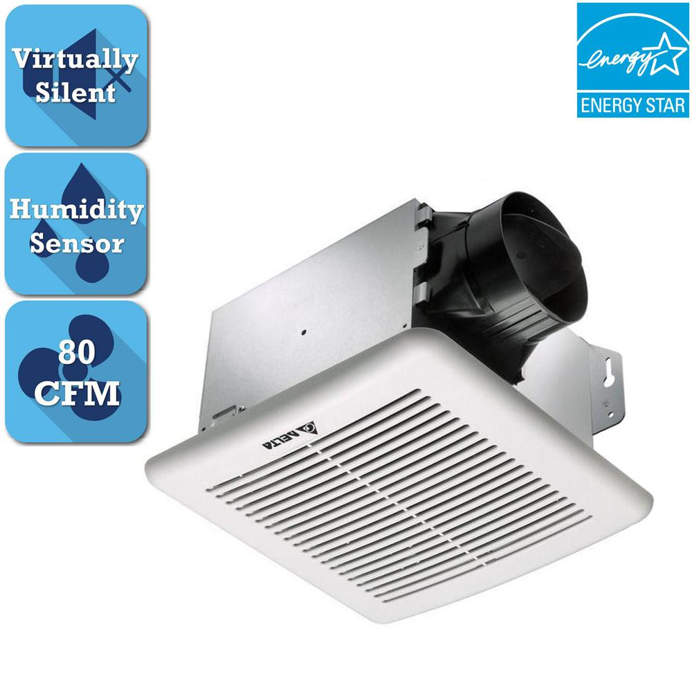 Delta Breez Greenbuilder G2 Series 80 Cfm Ceiling Bathroom Exhaust Fan With Adjule Humidity Sensor