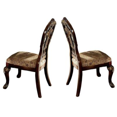 Brown and Beige Wood Fabric Arm Chair with Deep Engraved Design (Set of 2)