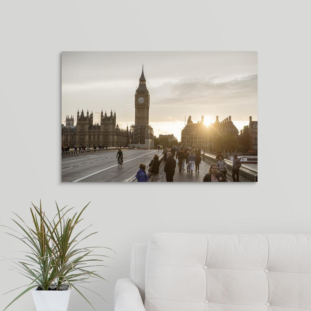 Big Ben And The Portcullis House At Sunset Westminster London Uk By Circle Capture Canvas Wall Art