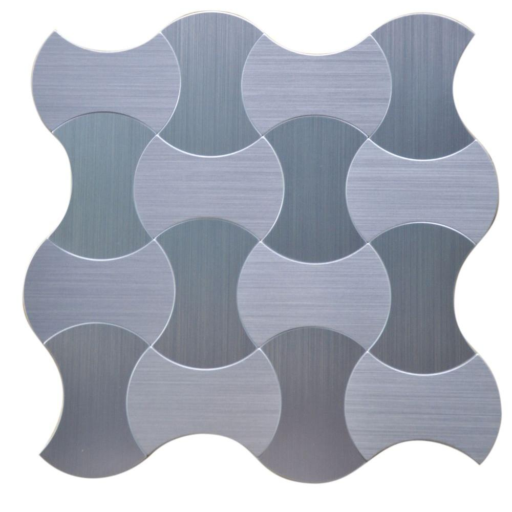 Instant Mosaic Lanterns 12 in. x 12 in. x 5 mm Peel and Stick Brushed Stainless Metal Mosaic Tile