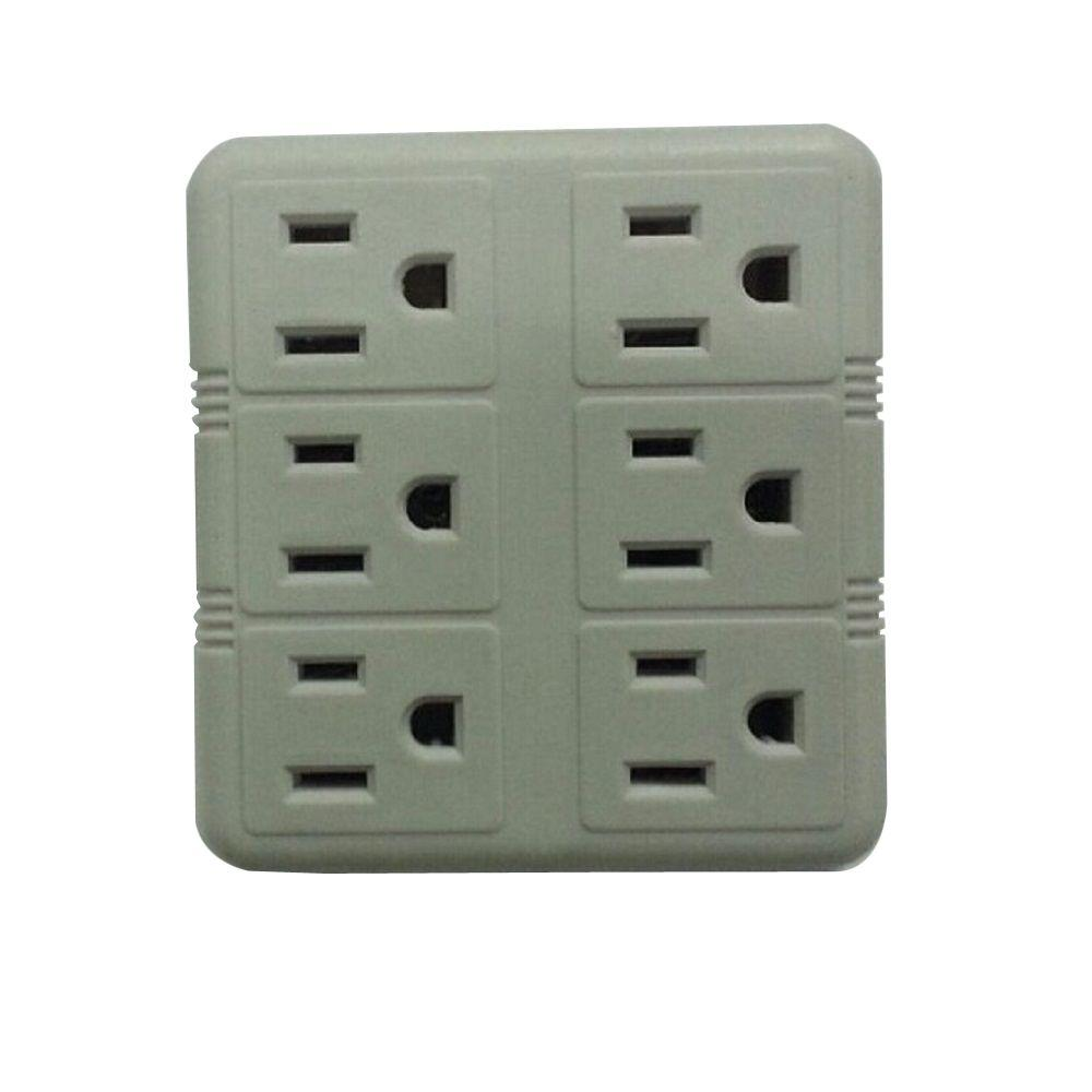 commercial electric 15 amp 6 outlet grounding tap white. Black Bedroom Furniture Sets. Home Design Ideas