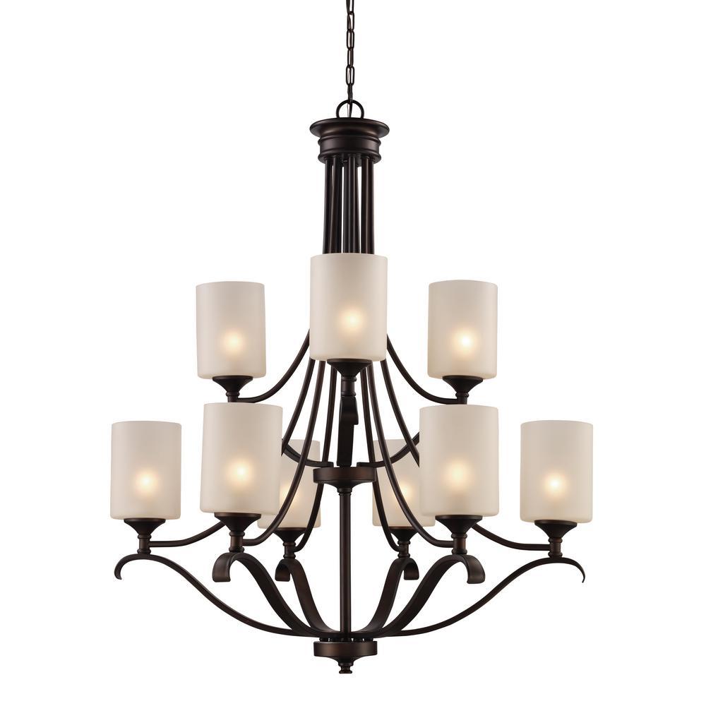 Ballard 9 light oil rubbed bronze chandelier with frosted glass ballard 9 light oil rubbed bronze chandelier with frosted glass shades arubaitofo Image collections