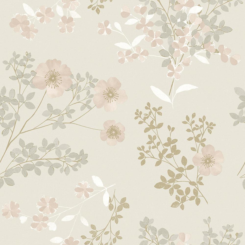 Prairie Rose Blush Floral Blush Wallpaper Sample