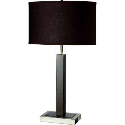 26 in. Modern Silver Metal Table Lamp with Convenient Outlet