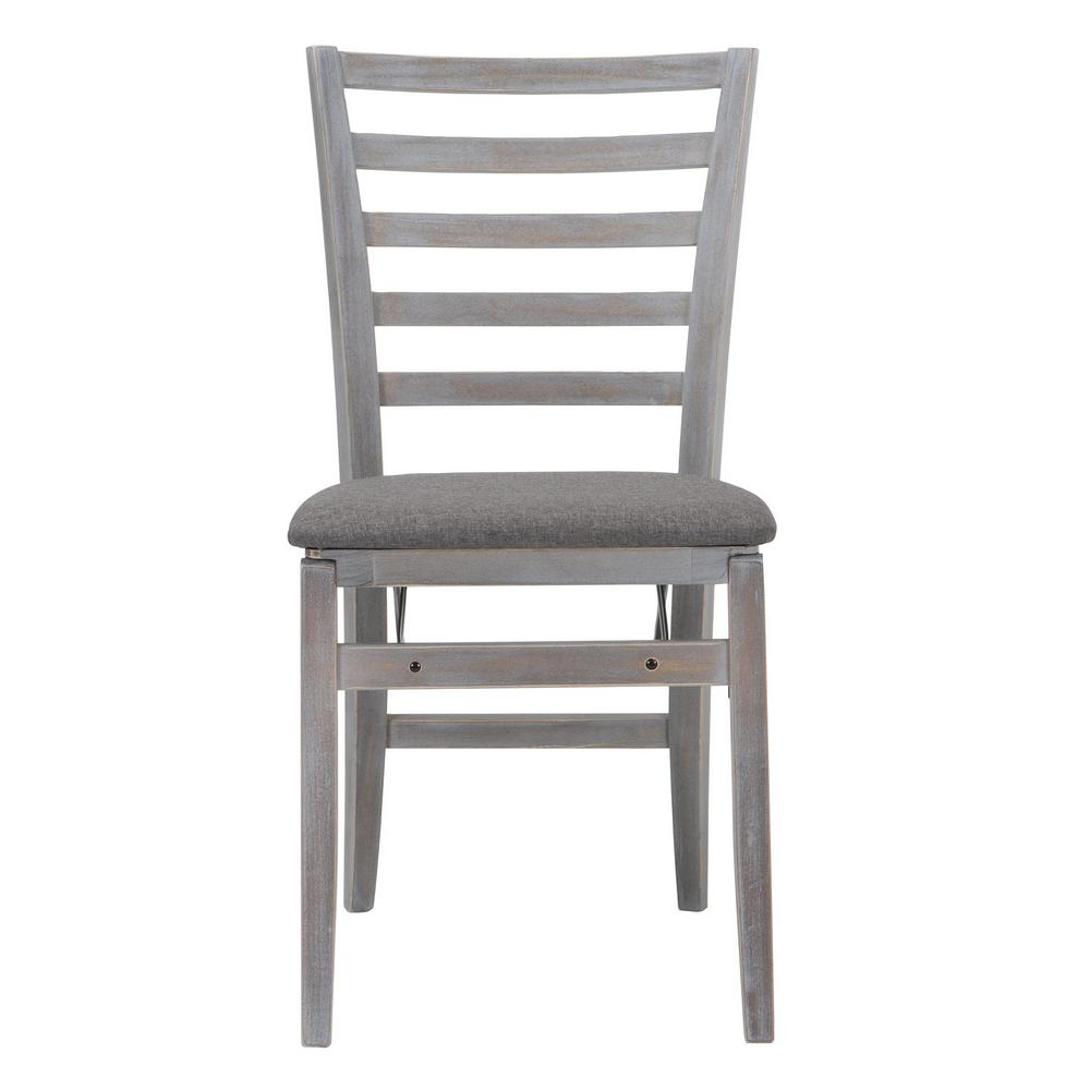Cosco Gray Fabric Seat With Contoured Back Folding Chair (Set of 2)