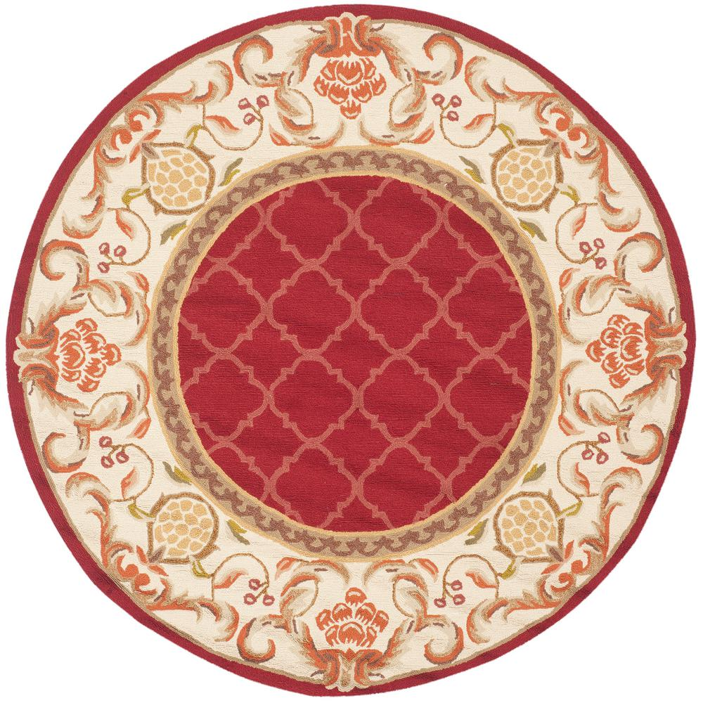 Safavieh Easy Care Burgundy/Ivory 6 Ft. X 6 Ft. Round Area