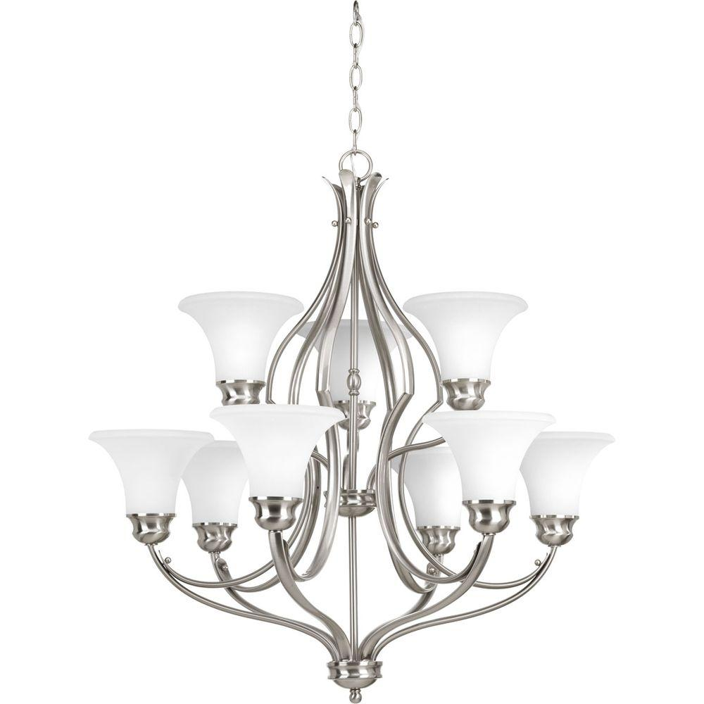 Applause Collection 9-Light Brushed Nickel Chandelier with Etched Parchment