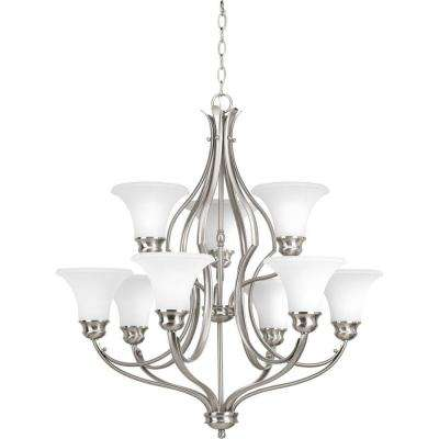 Applause Collection 9-Light Brushed Nickel Chandelier with Etched Parchment Glass Shade