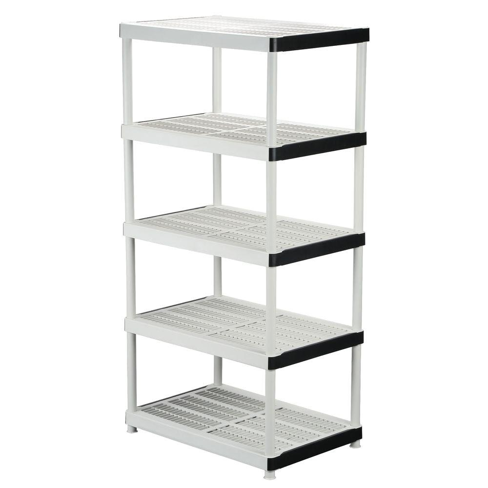 5-Tier Plastic Ventilated Storage Shelving Unit in Gray (36 in. W x 72 in. H x 24 in. D)