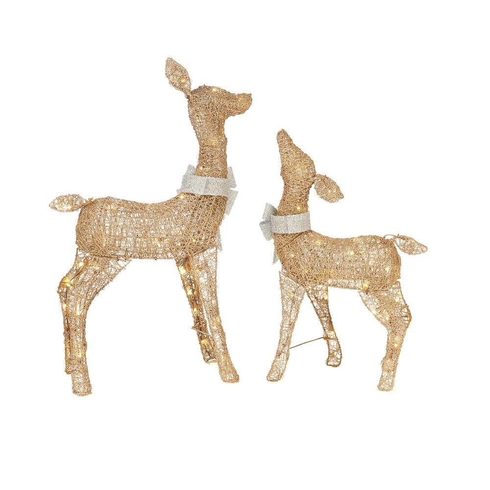 36 in. LED Lighted Gold PVC Deer and 28 in. LED