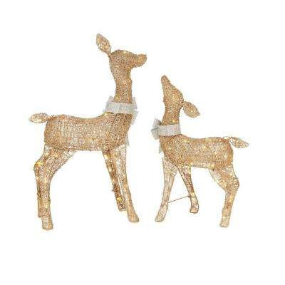 36 in. LED Lighted Gold PVC Deer and 28 in. LED Lighted Gold PVC Doe