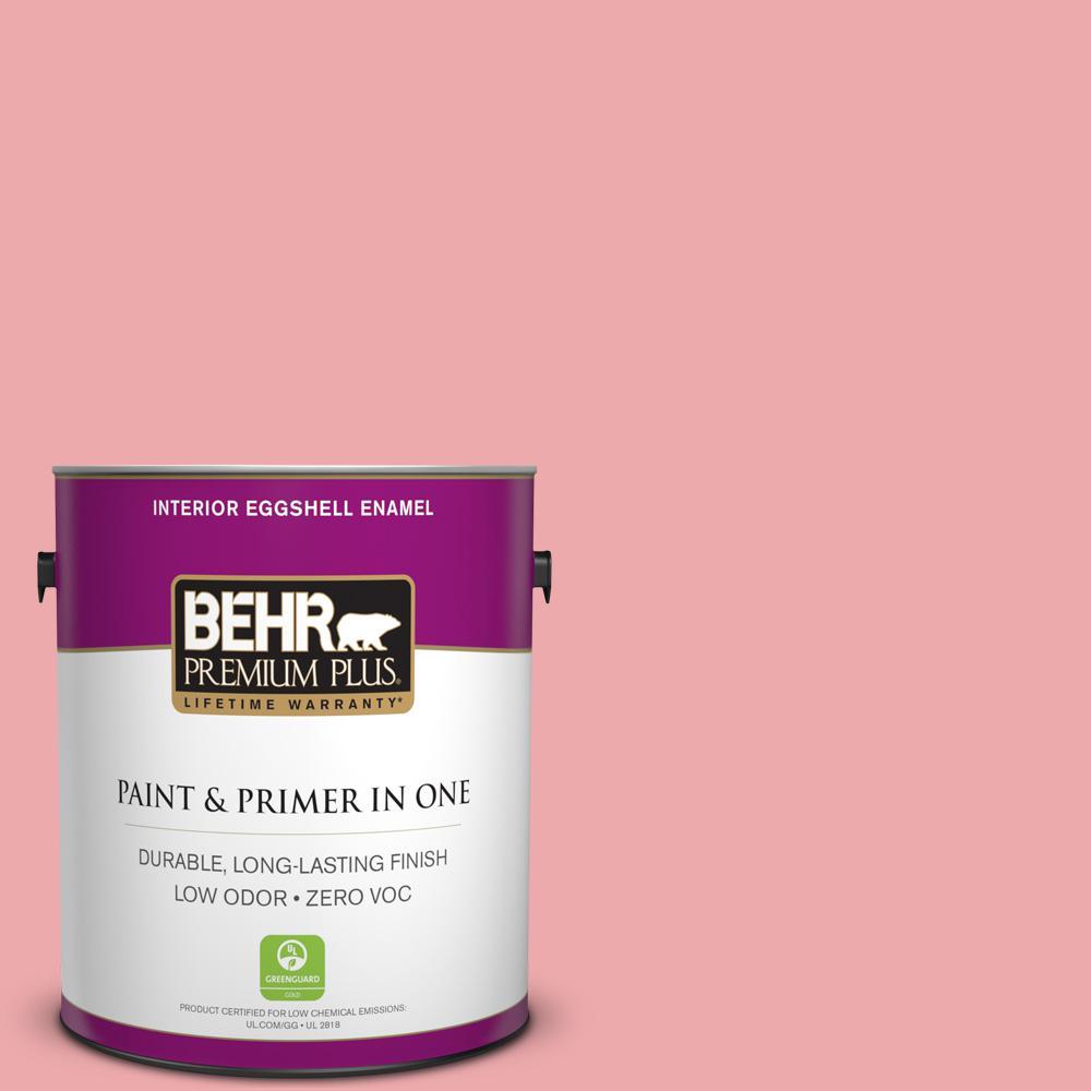 BEHR Premium Plus 1-gal. #140C-3 Hibiscus Petal Zero VOC Eggshell Enamel Interior Paint
