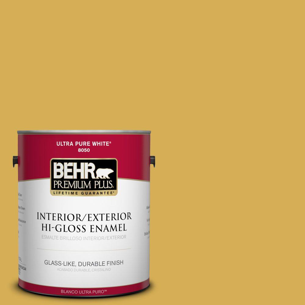 BEHR Premium Plus 1-gal. #370D-6 Golden Cricket Hi-Gloss Enamel Interior/Exterior Paint, Yellows/Golds