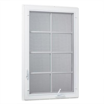36 in. x 48 in. Left-Hand Vinyl Casement Window with Grids and Screen in White