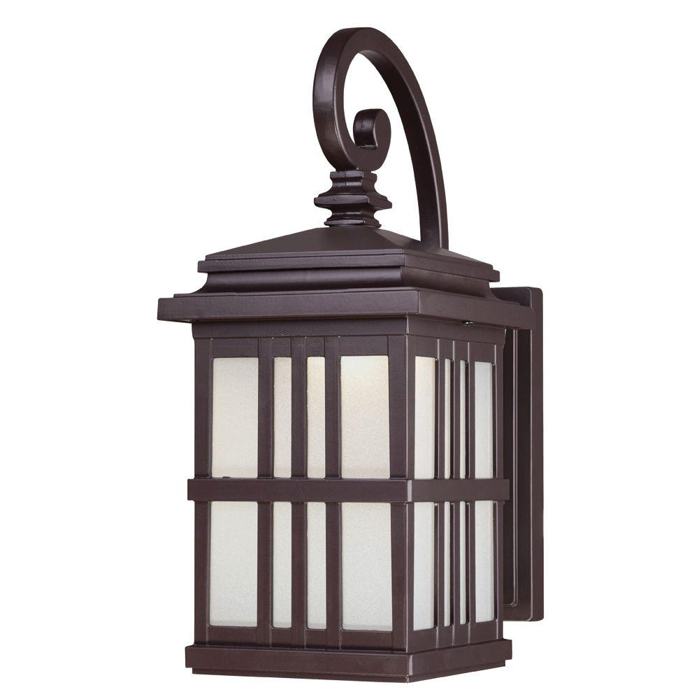 Westinghouse wall mount led outdoor oil rubbed bronze cast aluminum lantern 6400200 the home depot for Exterior wall mounted lanterns