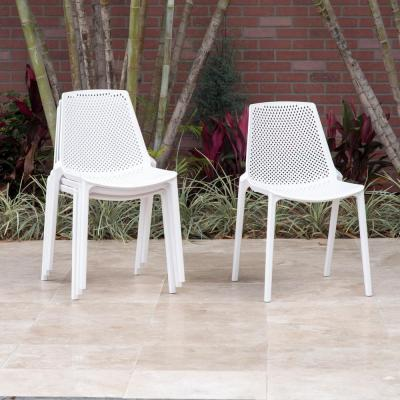 San Diego Stackable Plastic Patio Dining Chairs (Set of 4)