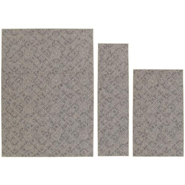 Classic Berber Earth Tone 4 ft. 11 in x 7 ft. 3-Piece Rug Set