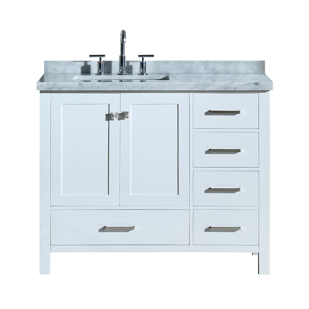 Ariel Cambridge 43 in. Bath Vanity in White with Marble Vanity Top in Carrara White with White Basin