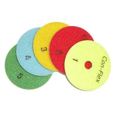 "4"" Con-Flex 5-Step Diamond Polishing Pads for Concrete Set of 5 (1 each step)"