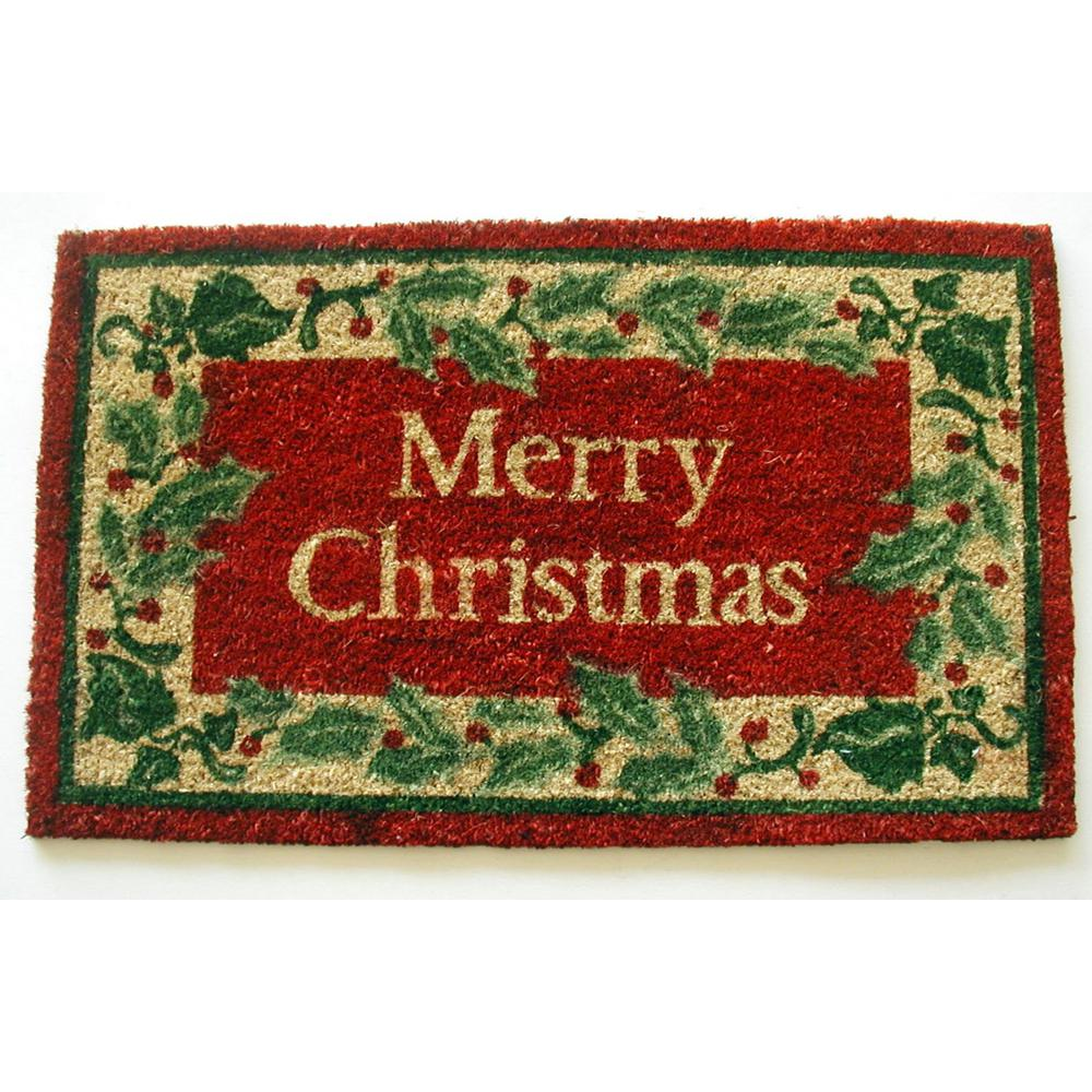 Christmas With Holly.Merry Christmas With Holly 18 In X 30 In Coir With Pvc Backing Doormat