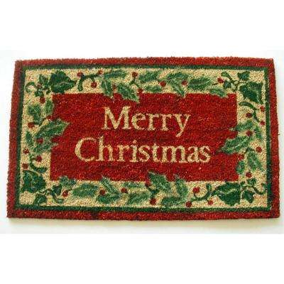 merry christmas with holly 18 in x 30 in coir with pvc backing doormat