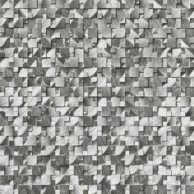 12.4 in. x 11.81 in. x 8mm Silver Aluminum Pattern Brushed Metal Mesh-Mounted Mosaic Wall Tile (10.2 sq. ft. / case)