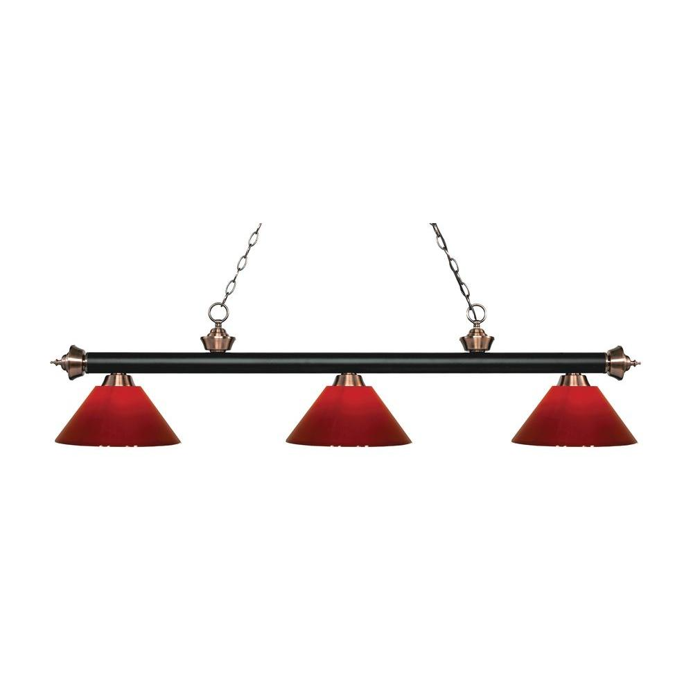 Filament Design Marice 3 Light Matte Black And Antique Copper Island Light With Red Shades