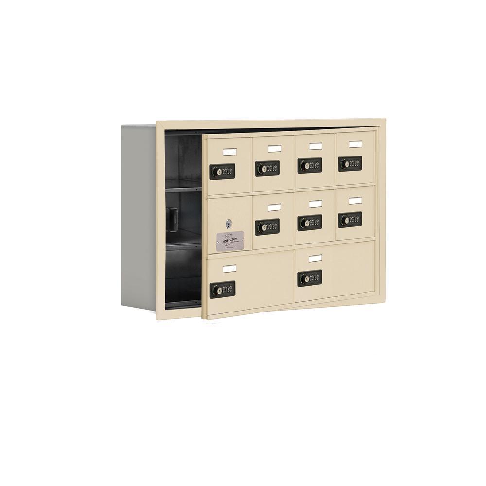 19100 Series 29.25 in. W x 18.75 in. H x 5.75 in. D 9 Doors Cell Phone Locker R-Mount Resettable Locks in Sandstone