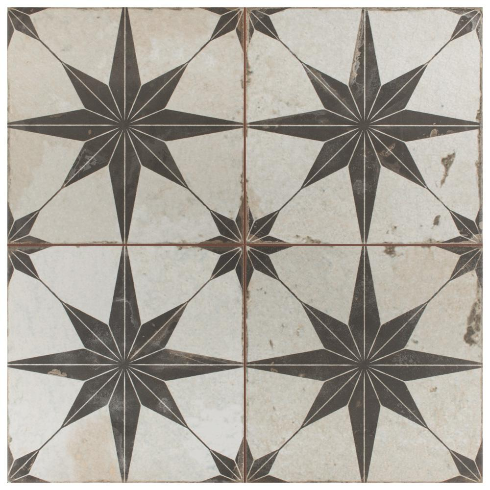 "Merola Tile Kings Star Nero 17-5/8""x17-5/8"" Ceramic F/W Tile"