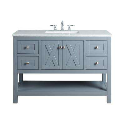 Anabelle 48 in. Grey Single Sink Bathroom Vanity with Marble Vanity Top and White Basin