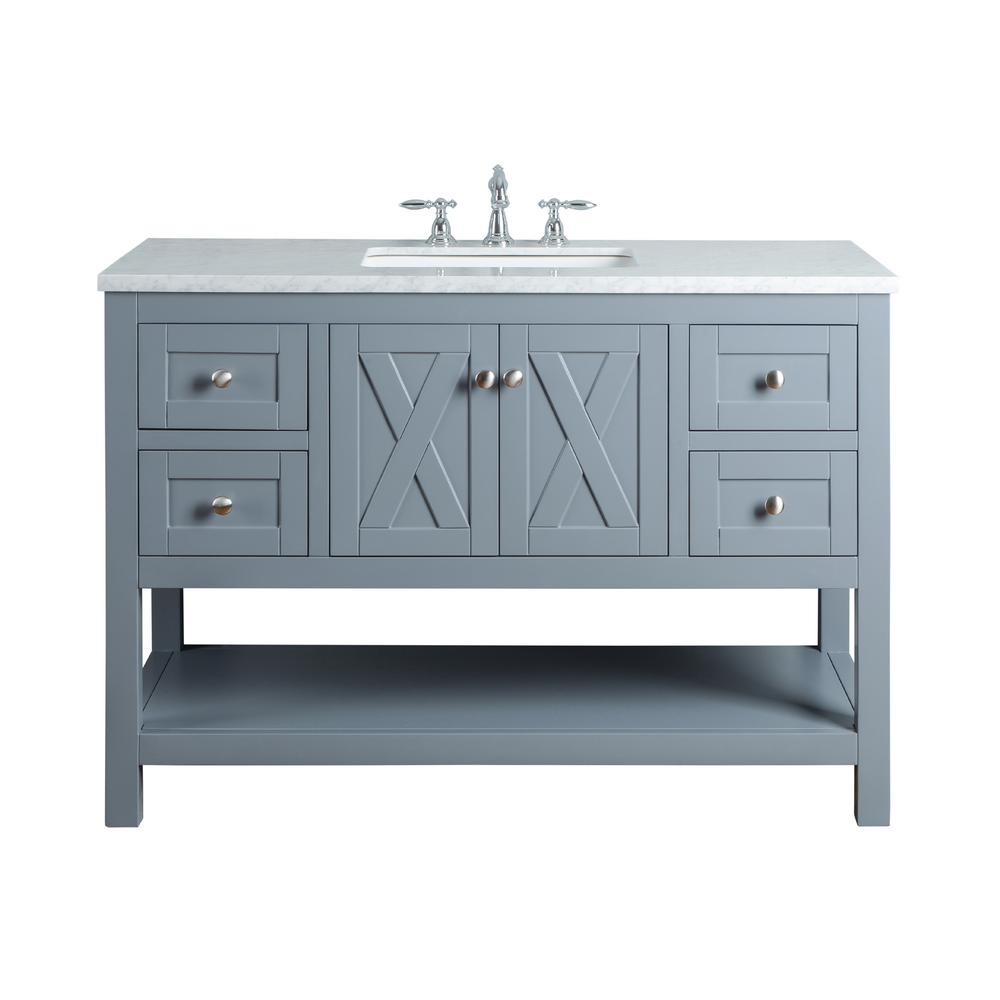 Grey And White Marble Bathroom: Stufurhome Anabelle 48 In. Grey Single Sink Bathroom