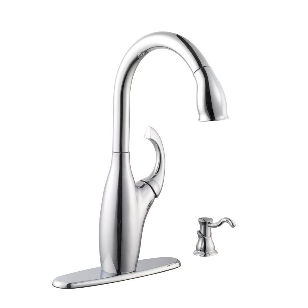 Schon contemporary single handle pull down sprayer kitchen for Faucet soap dispenser placement
