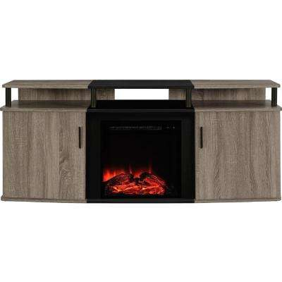 Windsor 70 in. Weathered Oak TV Console with Fireplace