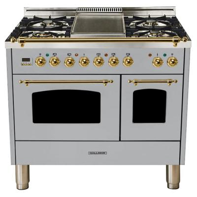 40 in. 4.0 cu. ft. Double Oven Dual Fuel Italian Range True Convection,5 Burners, LP Gas, Brass Trim/Stainless Steel