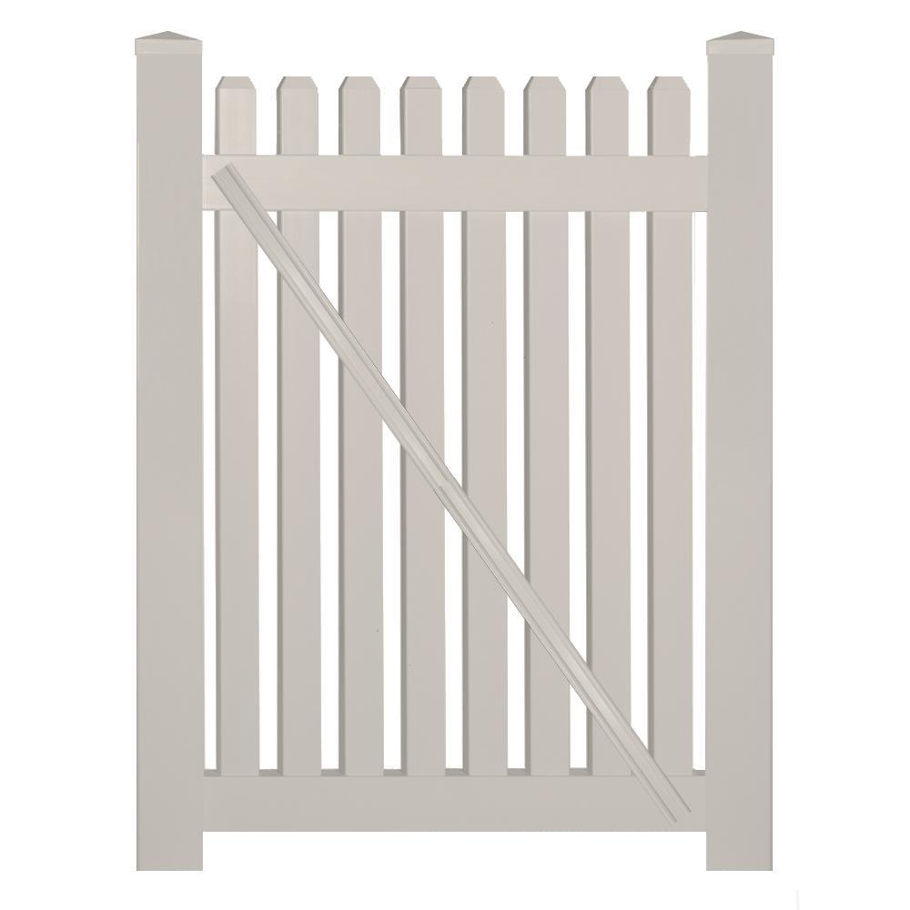 Provincetown 4 ft. W x 5 ft. H Tan Vinyl Picket Fence Gate