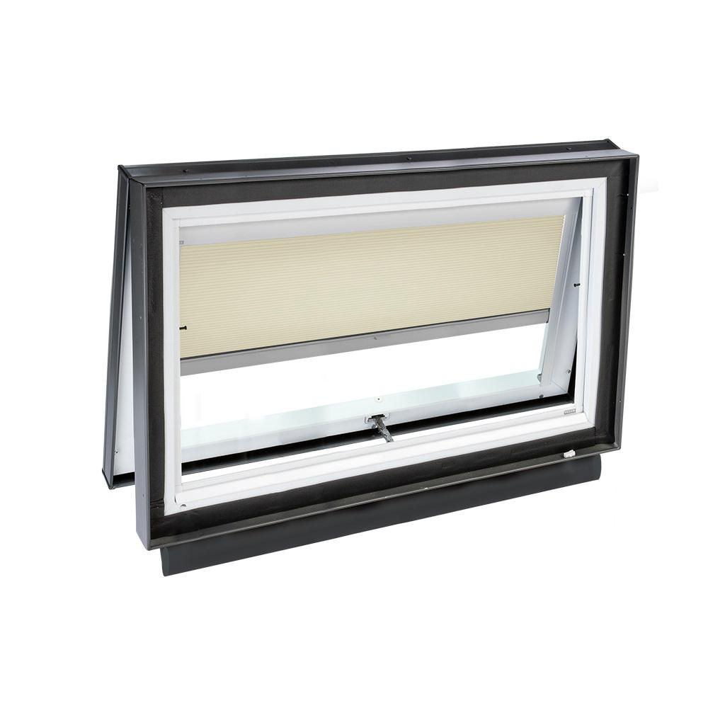 Velux 46 5 in x 22 5 in solar powered venting curb mount for Solar powered blinds for skylights